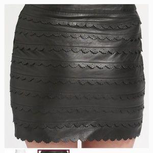 Leifsdottir Ruffled Scalloped Leather Skirt Size10